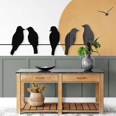 Wanddecoratie Familie Vogel (5-delig)