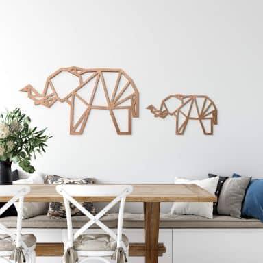 Trækunst Mahogni - Origami - Elefant