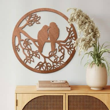 Décoration en bois - Deux oiseaux sur une branche - Placage acajou