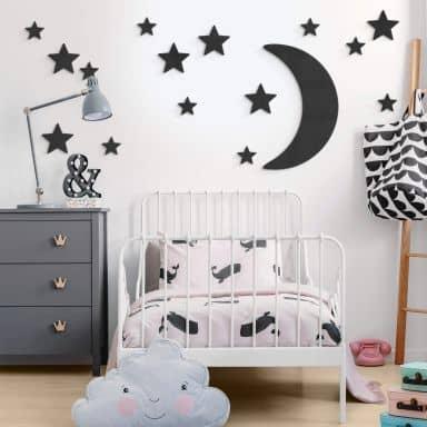 MDF - Décoration en bois - Lune et étoiles