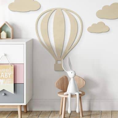 Holzdeko Pappel - Heißluftballon mit senkrechten Linien