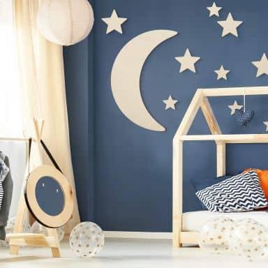Décoration en bois de peuplier -  Lune et étoiles
