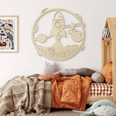 Décoration en bois - Fusée My Space - Placage peuplier