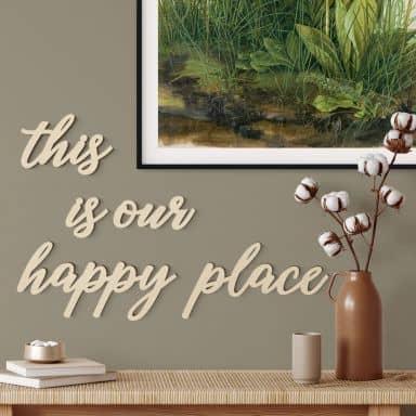 Lettres décoratives en placage bois de peuplier - This is our happy place