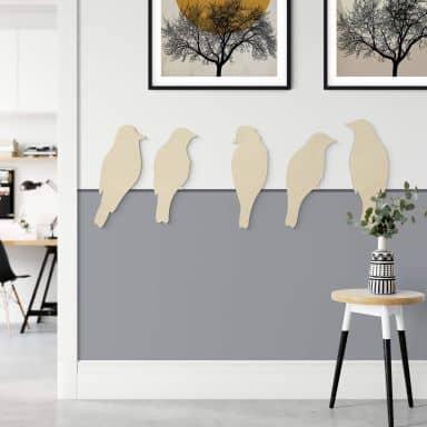 Holzdeko Pappel - Vogel-Familie (5-teilig)