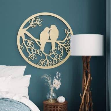 Décoration en bois - Deux oiseaux sur une branche - Placage peuplier