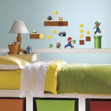 Wandsticker Super Mario - Mario Build a scene - 34-teilig