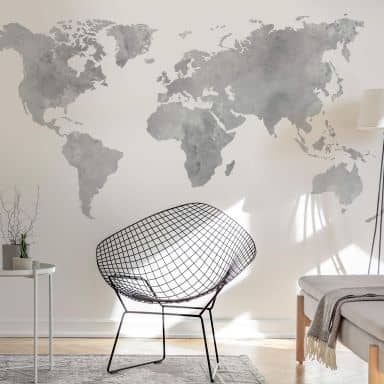 Sticker mural - Aquarelle mappemonde (gris)