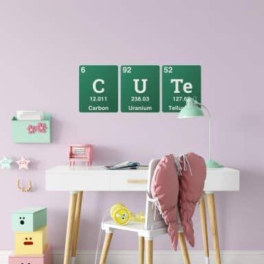 Wandtattoo Cute - Wort aus dem Periodensystem