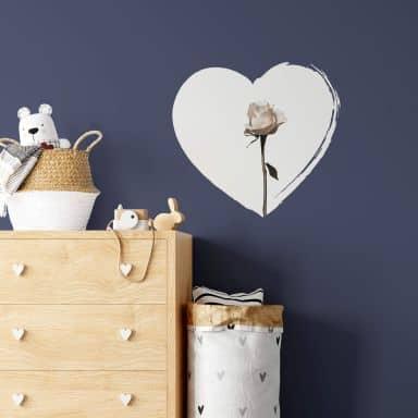 Muursticker White Rose in Heart