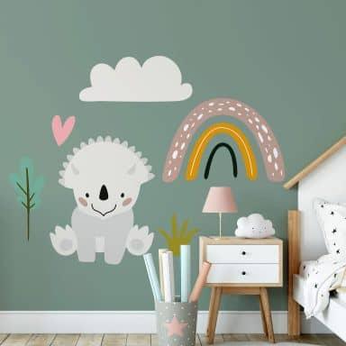 Sticker mural Dinosaure et arc-en-ciel