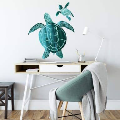 Wall sticker Goed Blauw - Turtle Couple