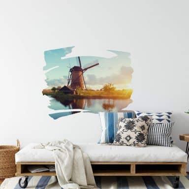 Wandtattoo Holländische Windmühle querschraffiert
