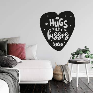 Muursticker Hugs and Kisses