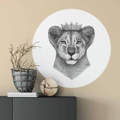 Zelfklevende Wandcirkel Korenkova - Lion Prince