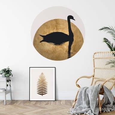 Sticker mural Kubistika - Cygne et pleine lune - Rond