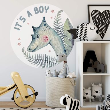 Sticker mural Kvilis - Dinosaure - It's a boy - Rond