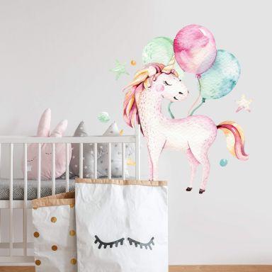 Wall sticker Kvilis - Unicorn with balloon