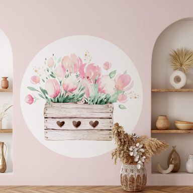 Sticker mural Kvilis - Vœux de printemps et tulipes - Rond