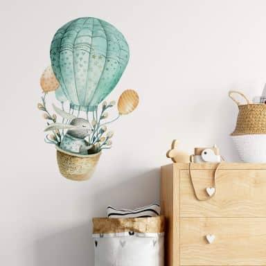 Muursticker Kvilis - Haasje met Heteluchtballon