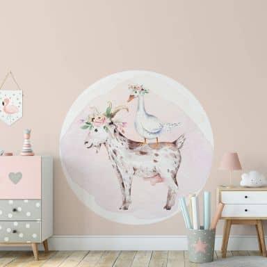 Sticker mural Kvilis - Ferme - Une oie sur le dos d'une chèvre