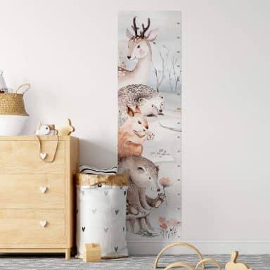 Wandtattoo Messleiste - Kvilis - Tierfreunde im Wald - 45x160 cm