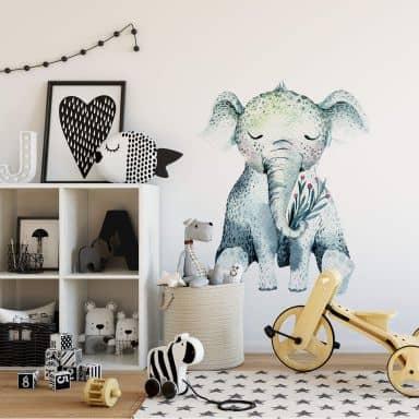 Sticker mural Kvilis - Bébé éléphant endormi