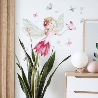 Sticker mural Kvilis - Fée et papillons