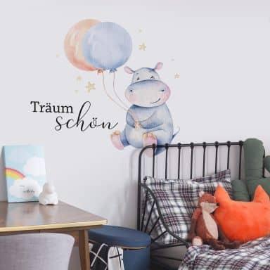 Sticker mural Kvilis - Träum schön - Hippopotame