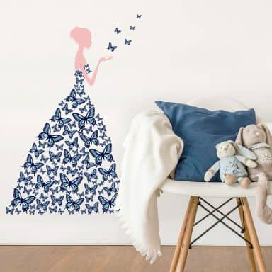 Lady with Butterflies (Blue) Wall Sticker