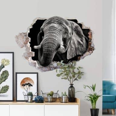 3D Muursticker Meermann - Afrikaanse Olifant