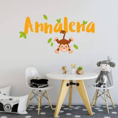 Wall sticker Monkey + Name