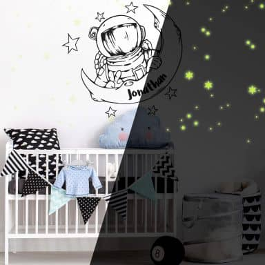 Wall sticker Astronaut + Name + Glow in Dark stickers