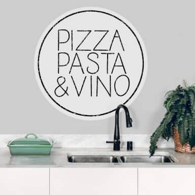 Sticker mural Pizza Pasta & Vino - Blanc - Rond