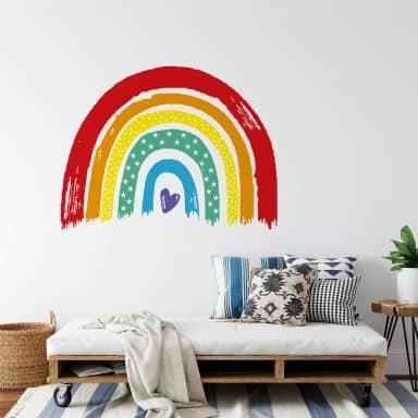 Wandtattoo Regenbogen klassisch bunt mit Herz