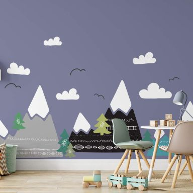 Sticker - Snedækket bjerglandskab