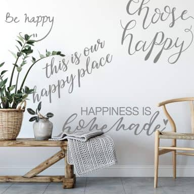 Wallsticker -  Slogan -  Happy
