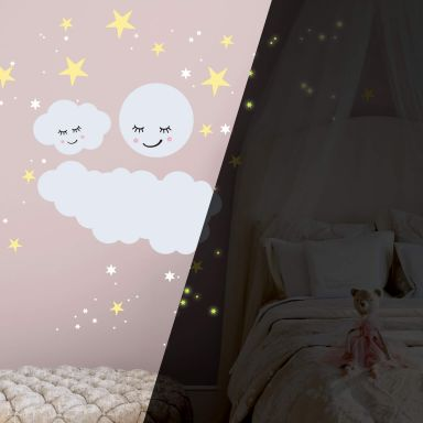 Wandtattoo Sternenhimmel mit Wolke und Mond schlafend + Leuchtsticker