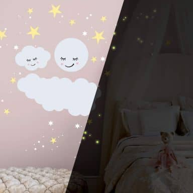 Muursticker  Wolken en Maan met Glow in Dark Sterrenhemel