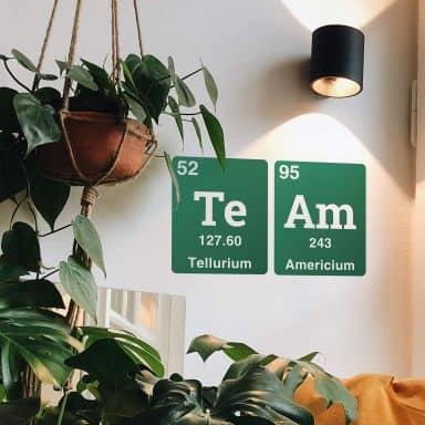 Wandtattoo Team - Wort aus dem Periodensystem