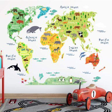 Wall sticker Animal World Map