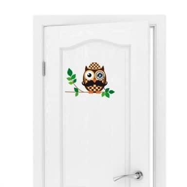 Wandtattoo Türspion Sherlock Eule