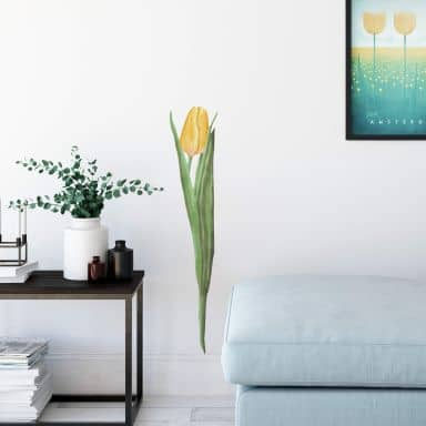 Wandtattoo Tulpe gelb Watercolor