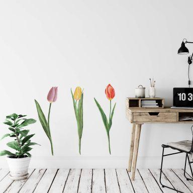 Wandtattoo Tulpen Trio Watercolor