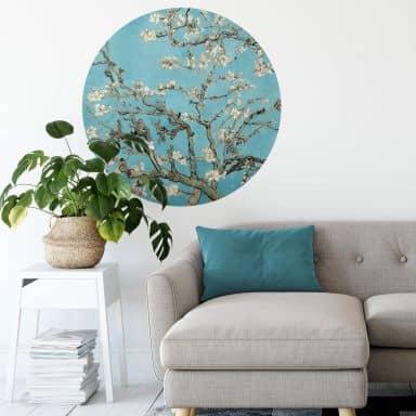 Sticker mural van Gogh - Amandier en fleurs - Rond
