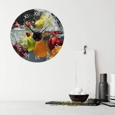 Wandtattoo Erfrischendes Obst + Wanduhr - Ø 44 cm