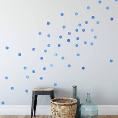 Muursticker set stippen - Blauw (50 stickers)