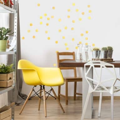 Wall sticker set Dots - Yellow (50 stickers)