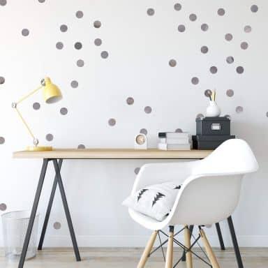Wall sticker set Dots - Grey (50 stickers)