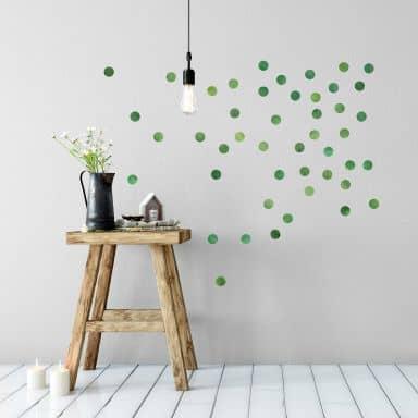 Wandtattoo Watercolor Punkte Set grün (50-teilig)